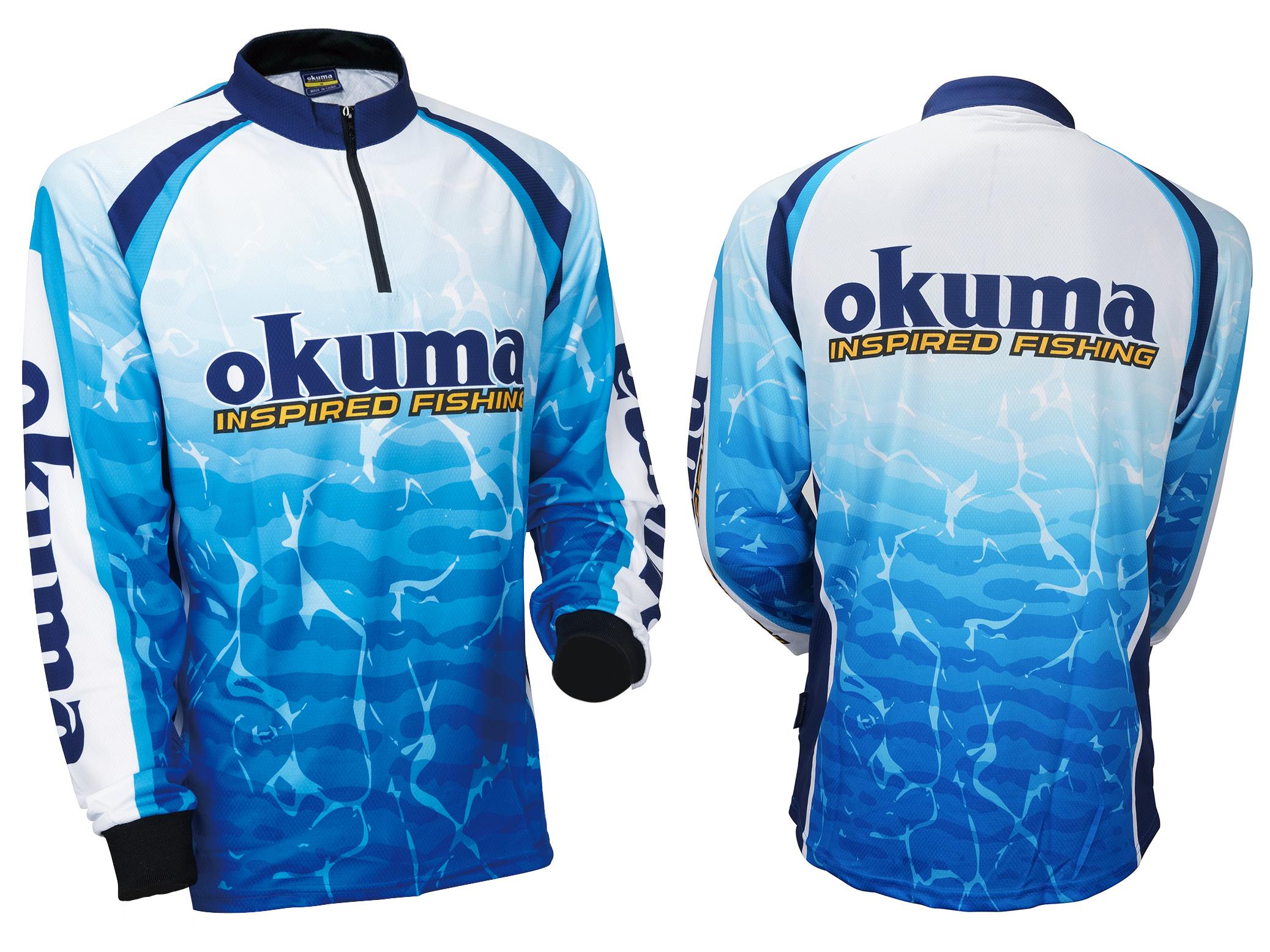 Fishing rods and reels jerseys manufacturer okuma for Fishing sponsor shirts